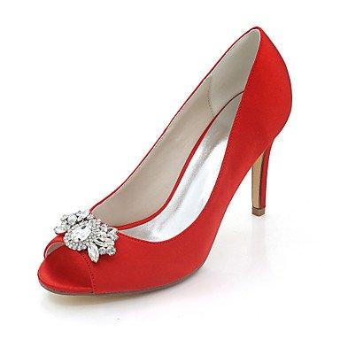 Wuyulunbi@ Scarpe donna raso Primavera Estate anello di convergenza della pompa base scarpe matrimonio Stiletto Heel Peep toe strass per la festa di nozze & SERA UNA Rosso