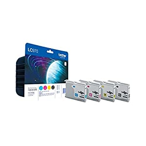 Brother LC970C/LC970M/LC970Y/LC970BK Inkjet Cartridges, Multi Pack, Standard Yield, Cyan, Magenta, Yellow and Black, Brother Genuine Supplies