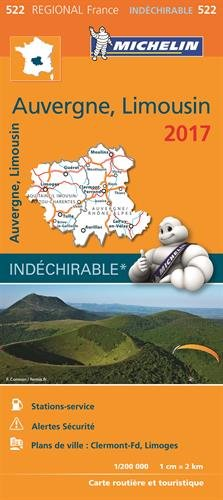 Carte Auvergne Limousin Michelin 2017