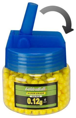 Golden Ball Biberon 500 Bolas 0,12g Calibre 6 mm Paintball Airsoft Softball Tiro Deportivo y recreativo Camping Outdoor 35797 + Portabotellas de regalo
