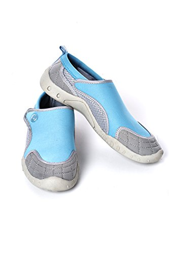 Haute Chaussures aquatiques femmes Style Chaussures de plage avec fermeture Velcro Bleu - bleu
