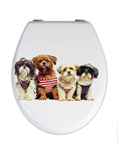 Vetrineinrete copriwater universale in legno mdf serigrafato tavoletta da bagno wc con stampa cerniere in acciaio inox resistente 52727 (cani) d17