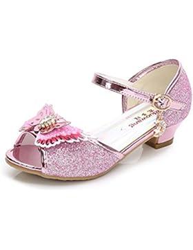 YOGLY Sandalias Para Niñas 2018 Verano Niña Disfraz de Princess Crystal Zapatos de Tacón Lentejuelas Brillantes...