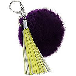 "Young & Forever ""Quirky Collection"" Royal Closet Violet Fur Ball Pom Pom With Yellow Tassel Bag Charm Keychain Hand Bag Charm Key Ring Pink"