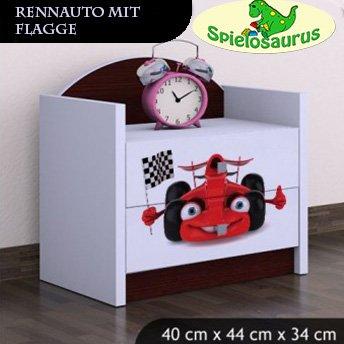 Nachttisch für Rennauto mit Flagge- Bagger, verschiedene Farben (Braun)