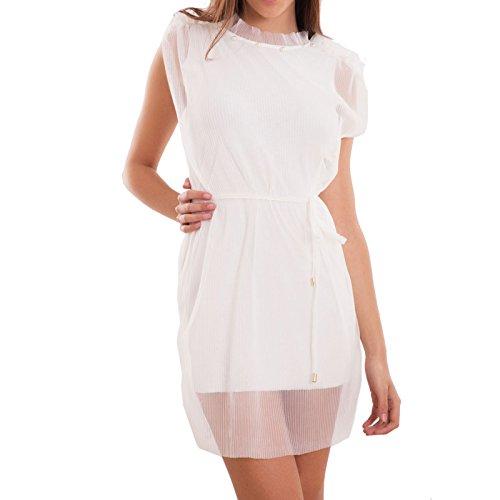 Toocool - Vestito donna miniabito corto velato plissettato perline ruches nuovo CJ-2506 Bianco