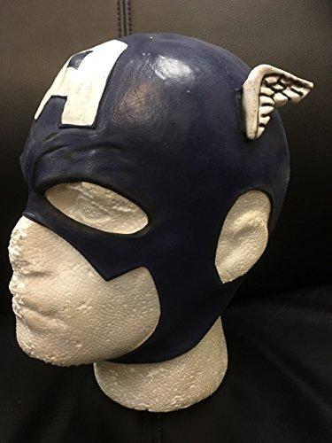 Halloween Latex Cosplay Maske blau/weiß - Voller Kopf Helm - Captain America - Schädel Kappe (Helm Schädel Kappe)