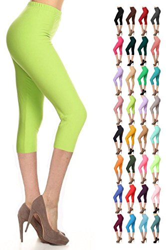 The Celebrity Fashion Cropped Leggings for Women 3/4 Length Capri Trousers Plus Size Classic 3/4 Pants