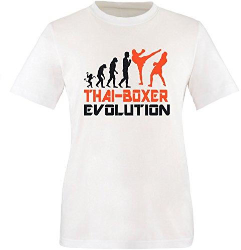 EZYshirt® Thai Boxing Evolution Herren Rundhals T-Shirt Weiss/Schwarz/Orange