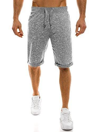 OZONEE Herren Hose Shorts Sportshorts Bermudas Knielang Jogg Fitness Sportshorts Kurzhose Sporthose Freizeitshose STREET STAR 7150 DUNKELGRAU M