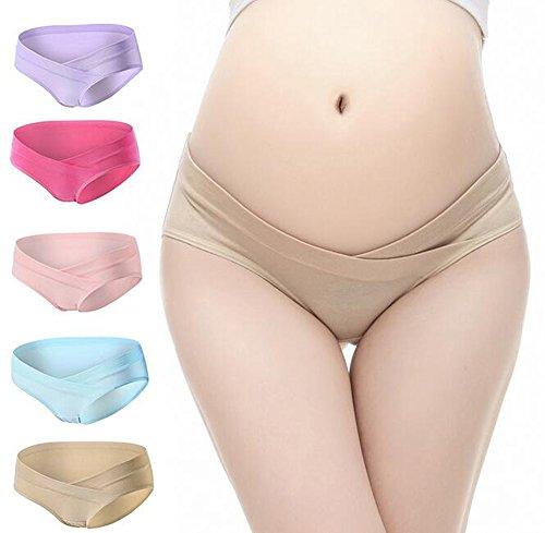 Maternité Culottes, Possec Femme Coton Vêtements Grossesse Sous-vêtements Faible - taille Culottes Pack de 5