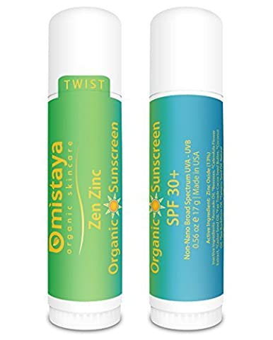 Zen Zinc 2-PACK Premium Organic Sunscreen Stick SPF 30+ Broad Spectrum Non-Nano Zinc Oxide - Best UV Protection - Safe for Children - 99% Certified Organic Ingredients - Double Guarantee - Made in USA by Mistaya Organic Skincare