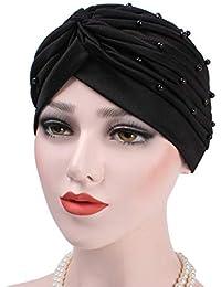 b48c6c7cceb HSDDA Women Beaded Turban Flower Pleated Muslim Turban Chemo Hair Loss  Headscarf