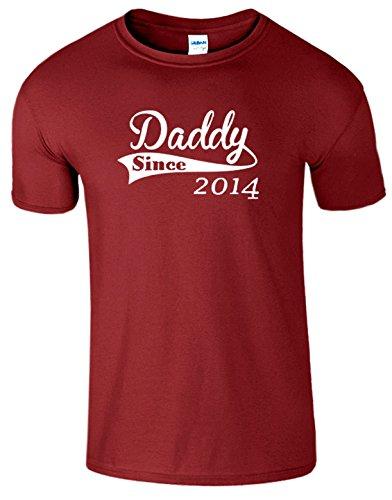 SnS Online Mens Jungen Damen Mädchen Unisex T Shirt T-Top Cotton Daddy Since 2014 Vatertags-Geschenk neues Baby geboren T-Shirt - Kardinal rot(CardinalRed) - L - Brustumfang : 42
