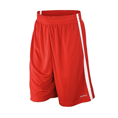 Spiro Men's Basketball quick dry shorts, 4XL, Red/ White (Shorts Quick Dry)