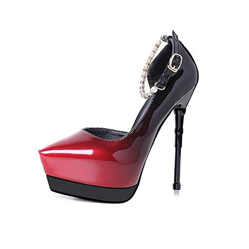 FLYRCX La versione coreana di moda sharp incavata e tacchi alti sexy colore graduale super tacco alto impermeabile perle piattaforma singola calzatura B