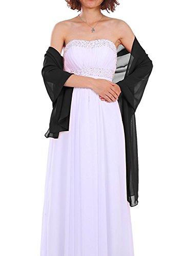 Dressystar AMY333 Chiffon Stola Schal für Kleider in verschiedenen Farben Schwarz 200 * 75cm