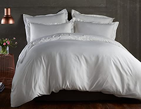 100% Bamboo Bed Linen - Luxury Duvet Cover Set - Double - Duvet Cover, Fitted Sheet, Pillowcases (Natural White) by All Bamboo