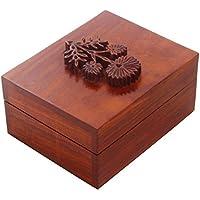 San Valentino regalo, Piccola mano gioielli scolpiti in legno Trinket motivo ricordo scatola di immagazzinaggio floreale sul coperchio - Piccole Scatole Decorative