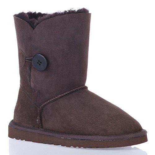 Augroo 5803 Bailey Button Damen Schlupfstiefel Stiefel Boots Frauen Mädchen Winter Warm Schaftstiefel Australia Schaffell Lammfellstiefel Schneestiefel (Chocolate, EU41)