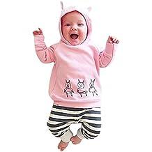 SMARTLADY 0~ 24 meses Bebé Niñas Sudaderas con capucha de Patrón de cerdo y Pantalones rayados