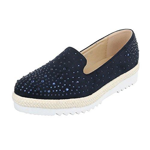 Scarpe Da Donna Ital-design Pantofola Basse Scarpe Con Tacco Basso Tempestato Di Strass Blu Scuro