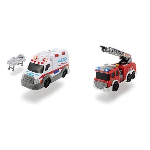 Dickie Toys 203302004 - Action Series Ambulance, Krankenwagen inklusive Batterien, 15 cm &  Toys 203302002 - Action Series Fire Truck, Feuerwehrauto inklusive Batterien, 15 cm