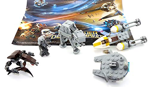 LEGO Star Wars 5er Set mit Mini Figur Imperial Combat Driver, at - at, Millenium Falcon, Droideka und Y-Wing / Modelle jeweils mit Bauanleitung