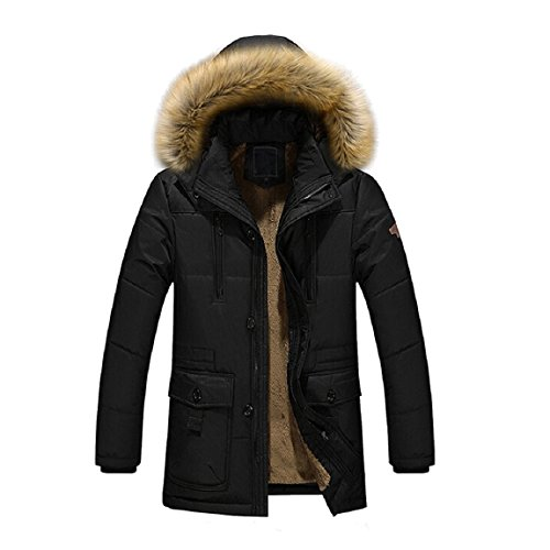 Malloom Mode Herren Winter Warm Kapuze Mantel Jacke Parka Oberbekleidung Schwarz