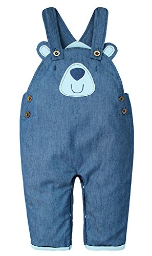 EOZY Baby Latzhose Bärchen Kids Overall Jeanshose mit Hosenträger Blau 80