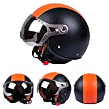 Demi Casque de Moto Scooter, haodene Rétro Casque modulable PU Leather Harley Helmet pour motorcycle, scooter, Scooter Touring CafeRacer