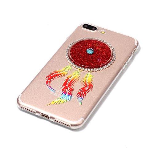 iPhone 7 Plus 5.5 Coque, Voguecase TPU avec Absorption de Choc, Etui Silicone Souple Transparent, Légère / Ajustement Parfait Coque Shell Housse Cover pour Apple iPhone 7 Plus 5.5 (Quicksand dreamcatc Quicksand dreamcatcher-Rouge