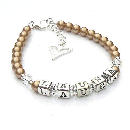 Vintage Doré nacré et argent sterling Bracelet Nom de baptême