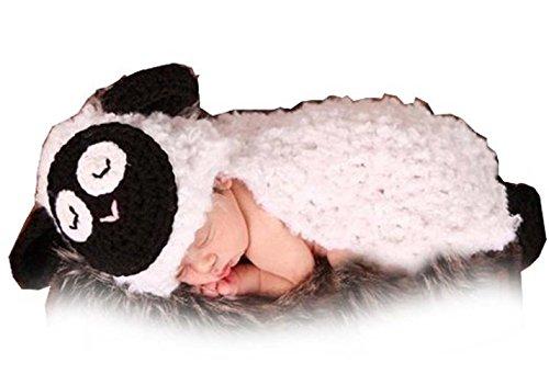 Jastore ® Fotografie Prop Baby-Kostüm Süss Crochet häkeln Strickmütze Hut Cap Mädchen Jungen Windel Schuhe Schäfchen