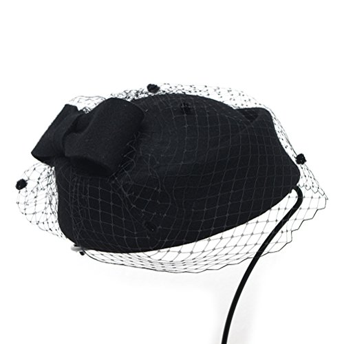 WINOMO Frauen Lady Wollfilz Kleid Fascinator Pillbox Hut Hochzeits schleier Hut Mesh (Schwarz) (Hut Derby Kleid,)