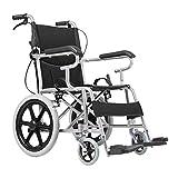 ChuanHan Ältere Menschen Liefern Rollstuhl Faltbaren Leichtgewichtsrollstuhl, Aluminiumrollstuhl, Manueller Rollstuhl, Faltender Reisendollstuhl, Justierbares Pedal,schwarz,A