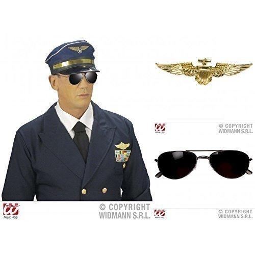 en Special 3- er Set, Brille mit schwarzem Rahmen (Flugzeug Pilot Erwachsene Hut)