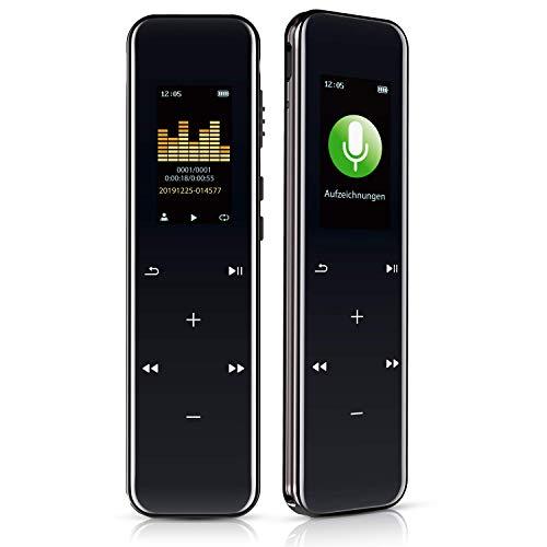 Digitales Diktiergerät 16GB 1536kbps Berührungssteuerung hohe Aufnahmequalität Geräuschreduzierung Einfache Operation Spracherkennung MP3 Aufnahmegerät für Vortrag Vorlesung Interview Meeting usw