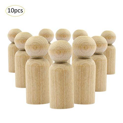 Unfertigen Holz-stücke (PER 10 Stücke Holz Puppe Kunsthandwerk Figuren Puppe Dekoration Ornamente für DIY Malerei Farbige Zeichnung)