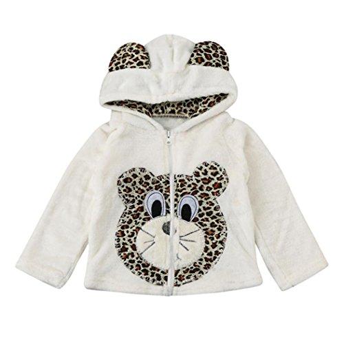 Koly Bebé Niños Niñas Capa con Capucha Animal Vestidos de abrigo para invierno Niña sudaderas con capucha Tops Prendas de abrigo (120, Blanco)