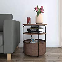 Lifewit Table de Chevet Table de Basse avec Tiroir Table de Nuit en Bois Brun et Blanc (Style Rond Brun & 3 Niveaux)