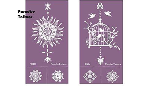 Mandala Vogelkäfig Tattoo Schablone Mesh Tattoo Vorlage Wiederverwendbar 2 Sheets Nr. 3 & 4