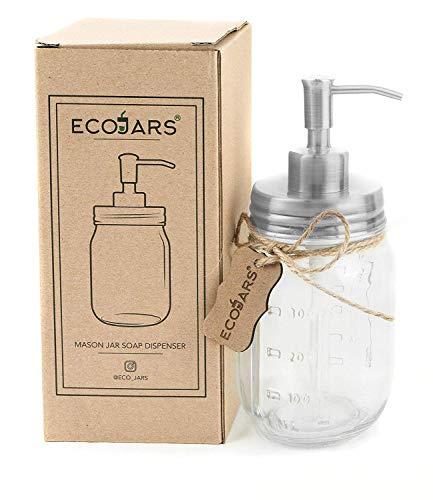 Eco Jars Mason Jar dispensador de jabón, Plateado, Vidrio, Vintage, Acero Inoxidable, 500 ml, Caja de Regalo para inauguración de la casa