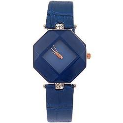 Kezzi Ladies Fashion Hexagon Case Rhombus Dial Quartz Watch with Rhinestone Decorative Leather Strap Blue