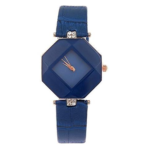 kezzi Damen Fashion Sechseck Fall Rhombus Zifferblatt Quarz-Armbanduhr mit Strass Deko Leder Armband blau