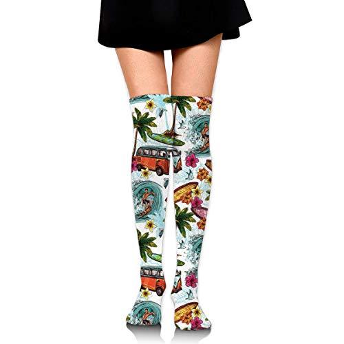Generic Hawaiian Surfer Sea Palm Trees Retro 3D Print Athletic Sport Long Stockings Over Knee High Socks 60CM
