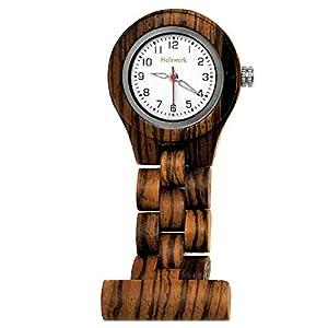 Handgefertigte Holzwerk Germany® Schwestern-Uhr Taschen-Uhr Ansteck-Uhr Pflegeuhr-UhrÖko Natur Holz-Uhr Braun Weiß Zebra Krankenschwester-Uhr Analog Klassisch Quarz-Uhr