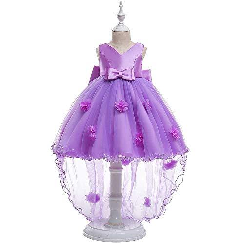 Bademode Mädchen Kleid Bowknot Prinzessin Kleid Spitze Mesh Mädchen Hochzeit Kostüm Klavier Performance Kleidung Bikinis (Color : Purple, Size : 9-10Years) (Kinder Klavier Kostüm)