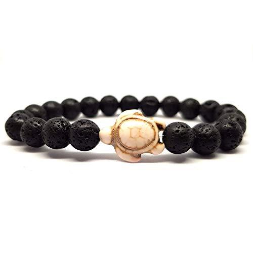 KARDINAL.WEIST Naturstein Perlenarmband aus Lava-Stein mit Howlith Schildkröten Perle, Surfer-Armband für Damen und Herren, Yoga Armband (2 - Weiß)