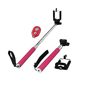 flying Self Portrait Self Shot Monopod Selfie Stick With Phone Holder For Samsung iPhone Blackberry With Bluetooth Remote Camera Wireless Shutter (Pink)